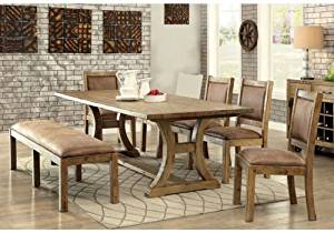 1PerfectChoice Gianna 6 pcs Dining Table Set Industrial Bold Rustic Pine Wood Bench Chairs