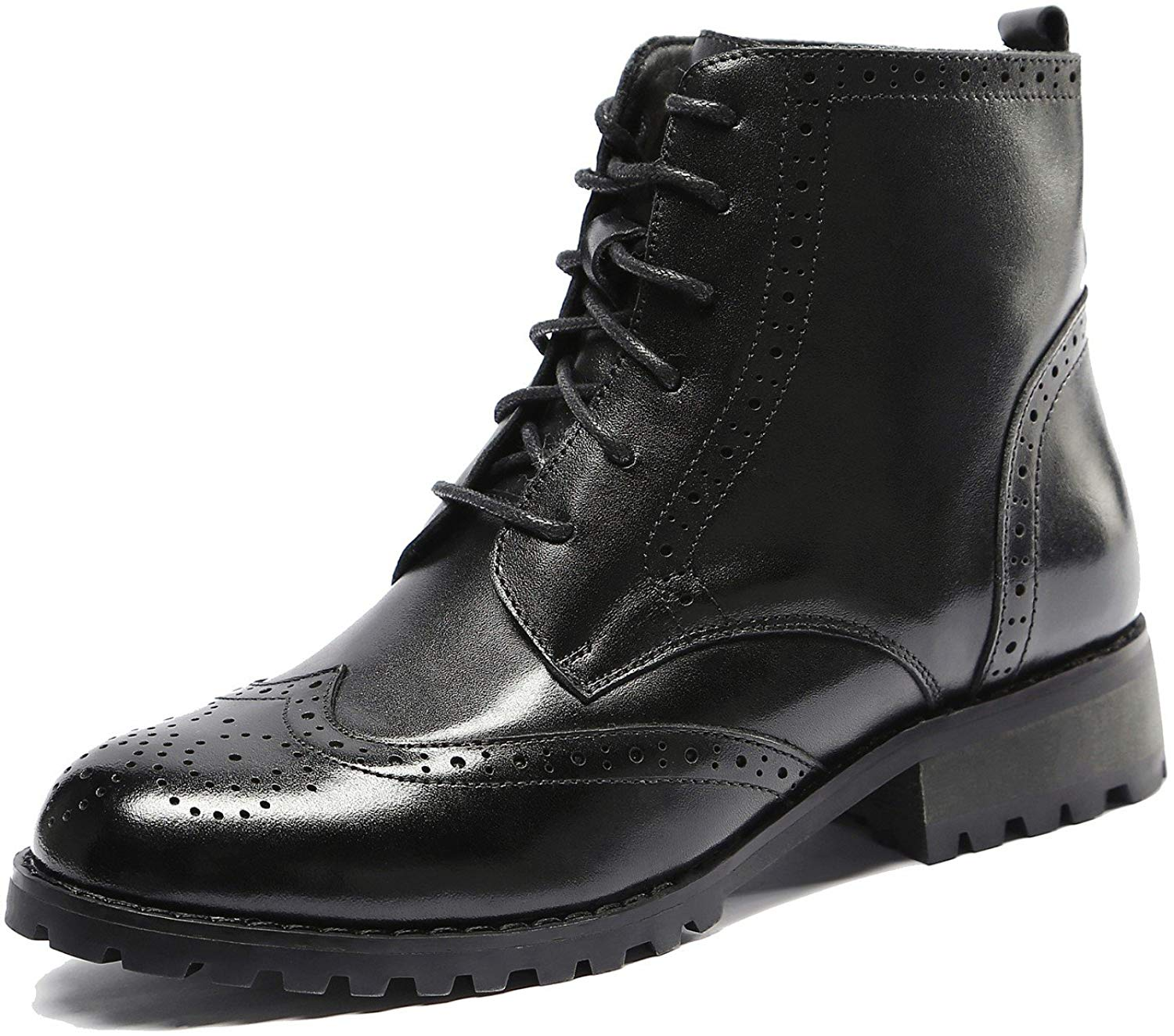 533820efa8 U-lite Womens Lace up Brogue Leather Oxford Boots, Autumn Winter Martin Combat  Ankle