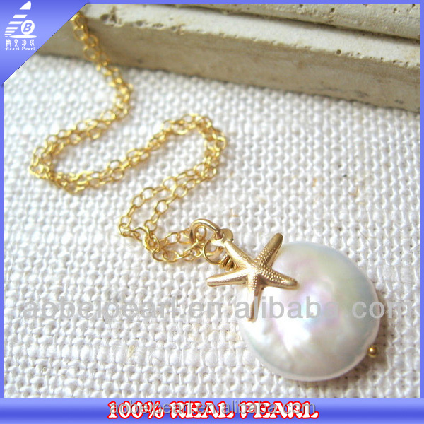 N-AB1111 Simple freshwater big coin pearl pendant beaded metal necklace