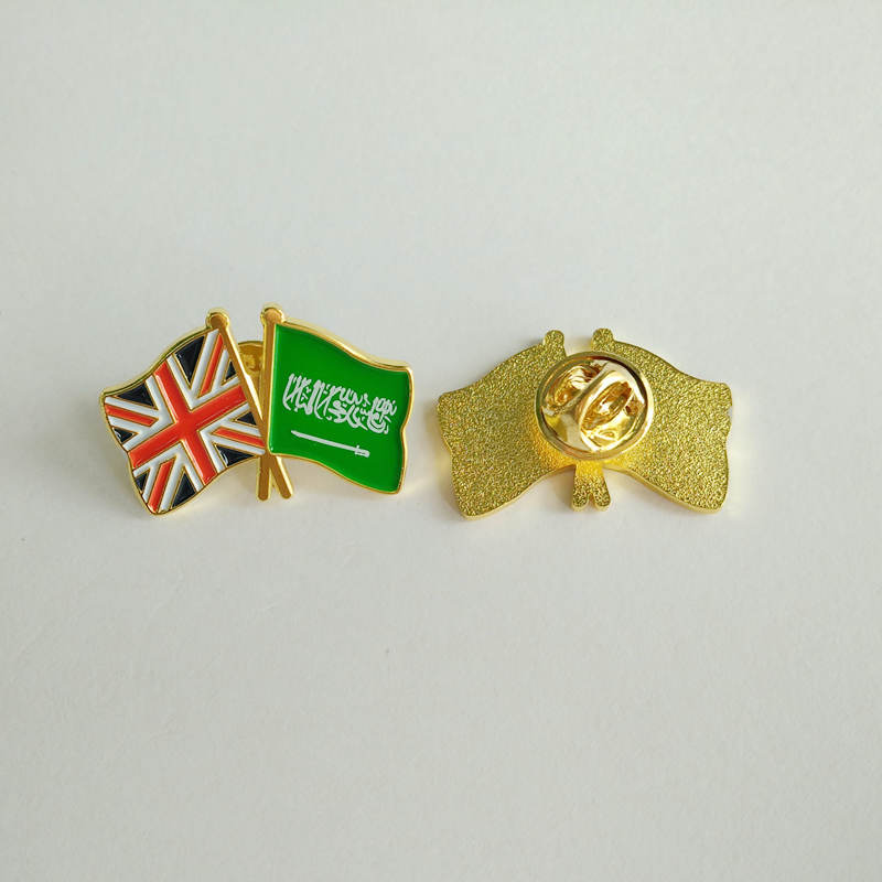 National flag gold plated  badge with butterfly clutch