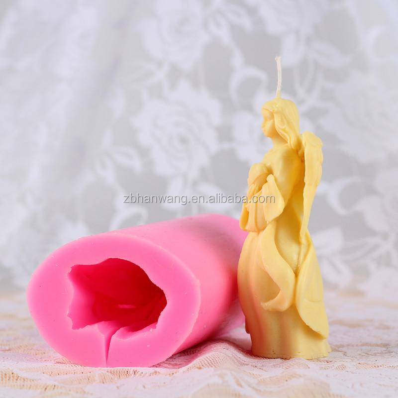 r venda quente decorativo anjo d forma silicone molde vela
