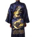 Free Shipping Navy Blue Chinese Men s Satin Silk Robe Embroidery Kimono Bath Gown Dragon Nightwear
