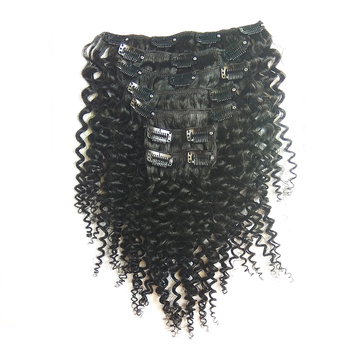 Grade 9a Mongolian Hair Afro Kinky Human Hair Mongolian Kinky Curly Clip In Hair Extension