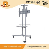 Customize siver height adjustable floor standing LCD LED TV Stand with 4 movable wheels fits most 32