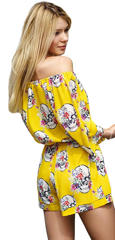 9e608c9526 Get Quotations · Van Gils Women Romper Jumpsuit Skulls and Flowers Yellow