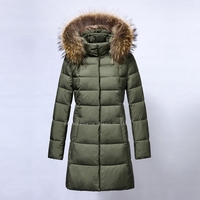 High quality wholesale raccoon fur coat fashion design women winter down quick dry jackets