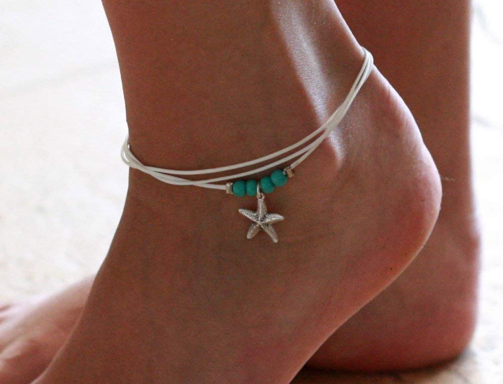 Handmade White Anklet For Women Set With 4 Turquoise Beads and Silver Plated Sea Star Pendant By Galis Jewelry - White Ankle Bracelet For Women - Beaded Anklet