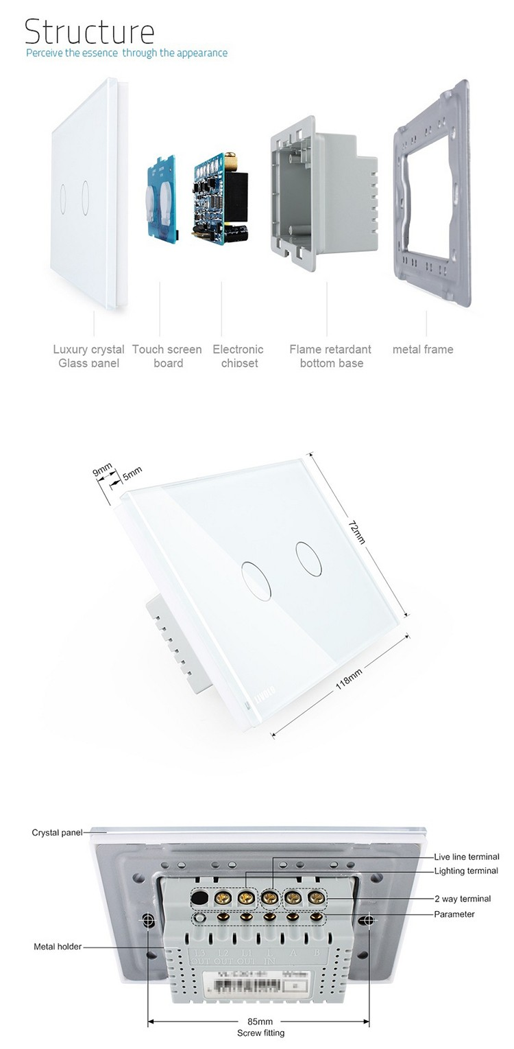Livolo White Glass Panel 2 Gang Way Us Au Standard Touch Screen Switch With Indicator Light