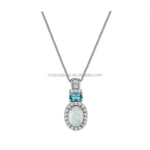 Rhodium Plated 925 Sterling Silver Opal Blue&Clear Stone AAA CZ Pendant Necklace
