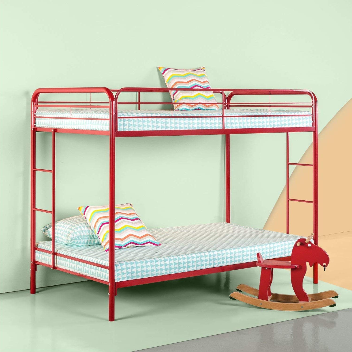 Bunk Beds for Kids Toddler Twin Over Full Steel Red Your Child Will Sleep in Style and Great Solution for Your Space Saving Needs by HomeTeks