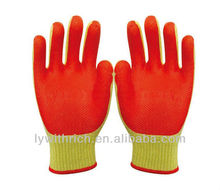 Palm coating rubber cotton yarn working safety gloves with CE EN388