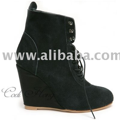 Womens Leather Lace Up Wedge Heel Booties Boots - Buy Lace Up ...