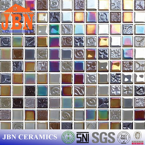 Glitter self adhesive mosaic tile mesh colorful crystal glass mosaic tile