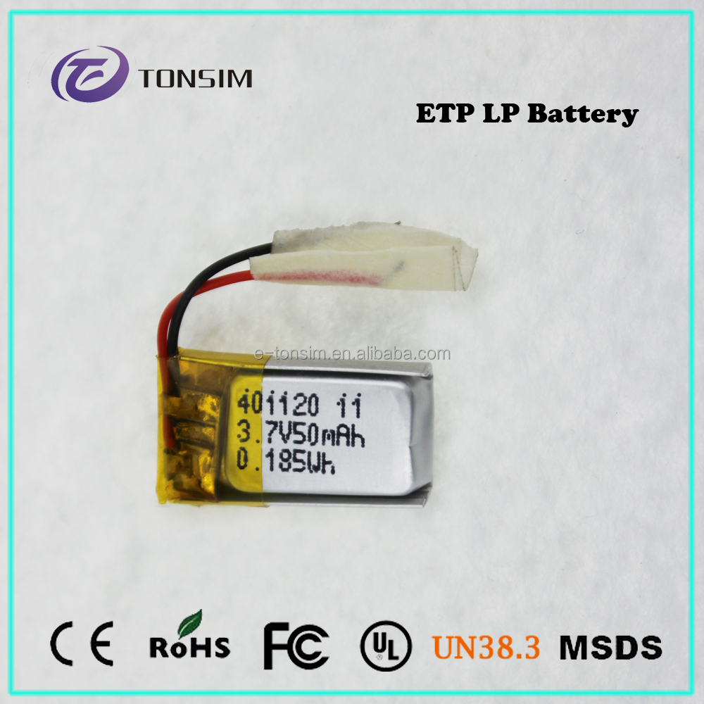 Smart Watch Battery 401120 Small 3.7v Lipo Battery 50mAh 4 x 11 x 20mm With High Performance
