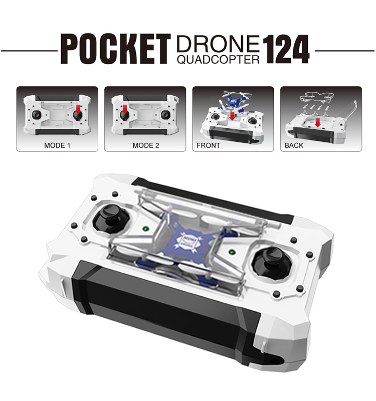Flytec 124 Pocket Mini Drone Quadcopter with Switchable Controller RTF