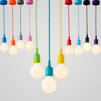 Colorful Silicone Pendant Lights E27 Holder AC90-260V Modern Fashion DIY Design Creative Pendant Lamps 100cm Cord Ceiling Base