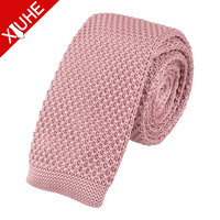 custom boys pink nacy mens skinny knitted ties polyester made in china