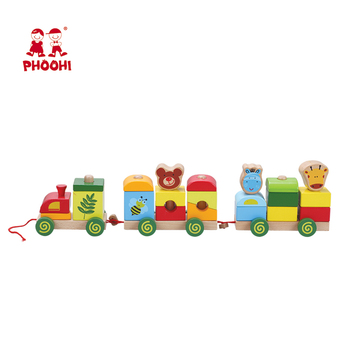 Preschool educational animal kids block set toy wooden stacking train for children