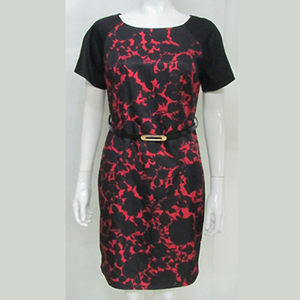 Pretty Steps 2018 middle age women dress mother dress with belt red and black print prom dress/guangzhou china manufacturer