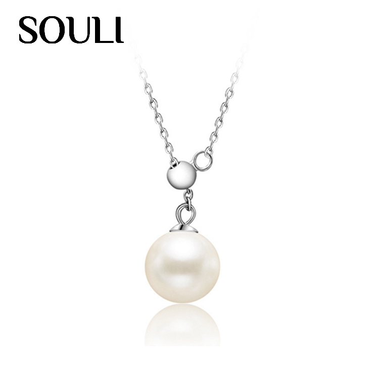 Graceful Natural Pearl Pendant Necklace S925 Sterling Silver Mother's Day Necklace