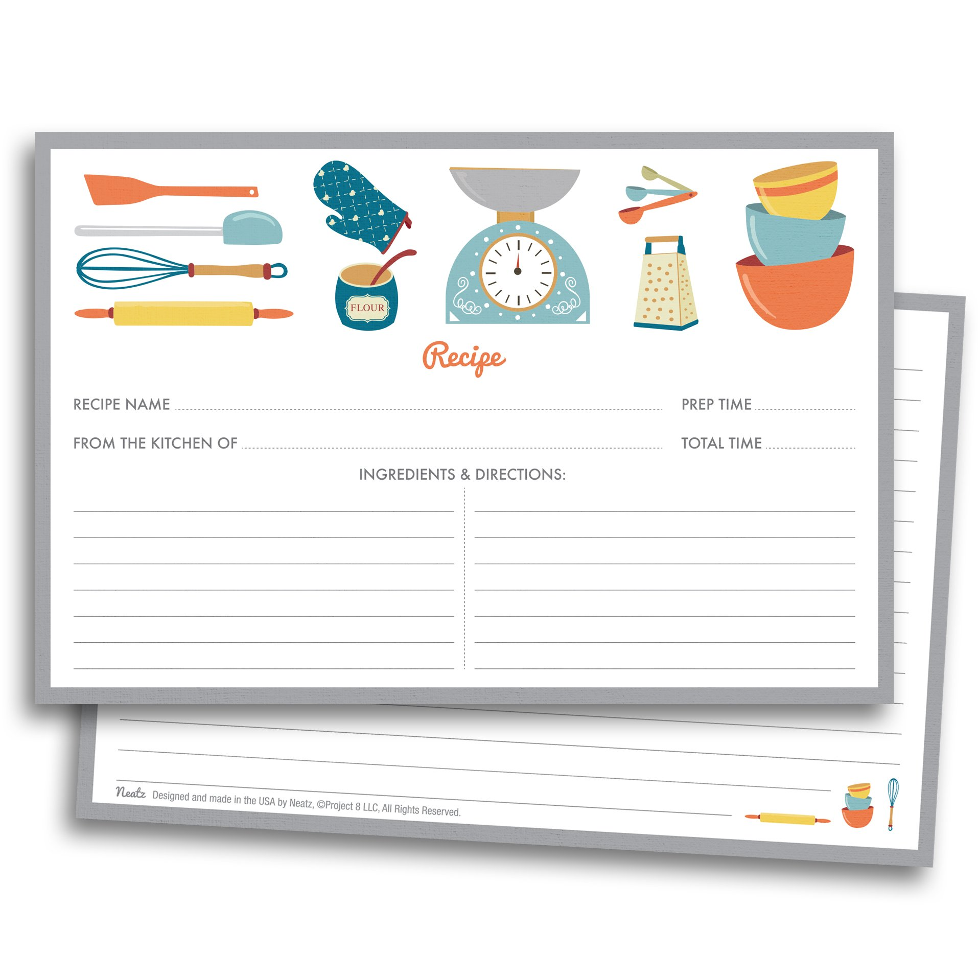 Chef's Recipe Cards - 50 Double Sided Cards, 4x6 inches. Thick Card Stock