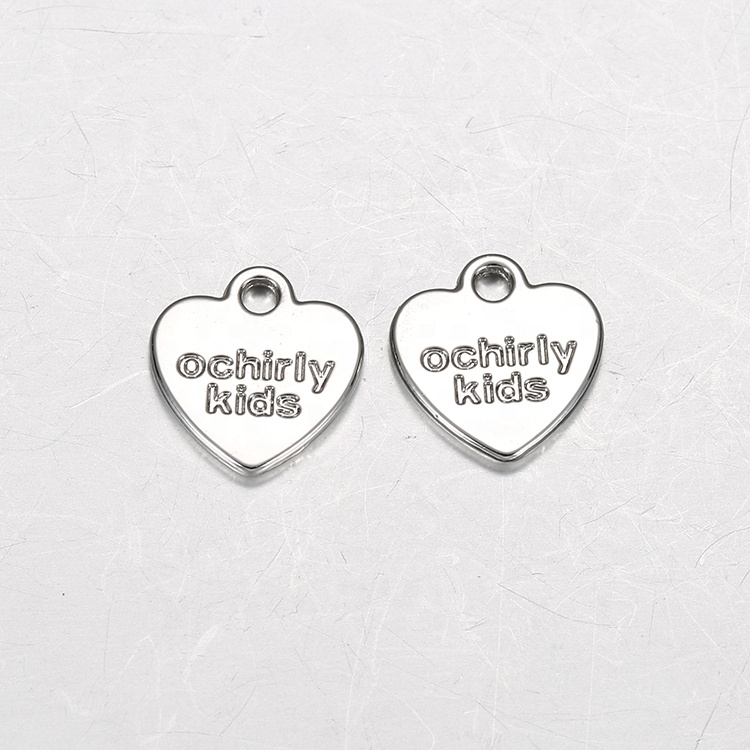 China Manufacturer Custom Brand Logo Heart Shape Metal Hang Tag For Jewelry