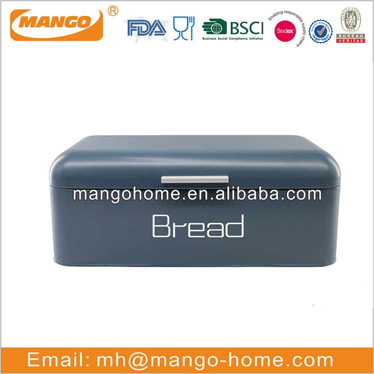 Rectangular enamel pet food storage metal box