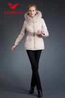 Big fur collar front short and long back coat for women