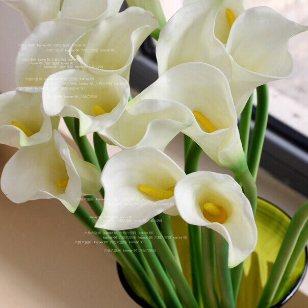 2014 SJ AF060 Wholesale artificial white calla lily for wedding hotel decoration real touch plastic PU calla lily calla lilies