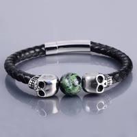 Wholesale Handmade Silver Skull Beads Knit Leather Bracelet