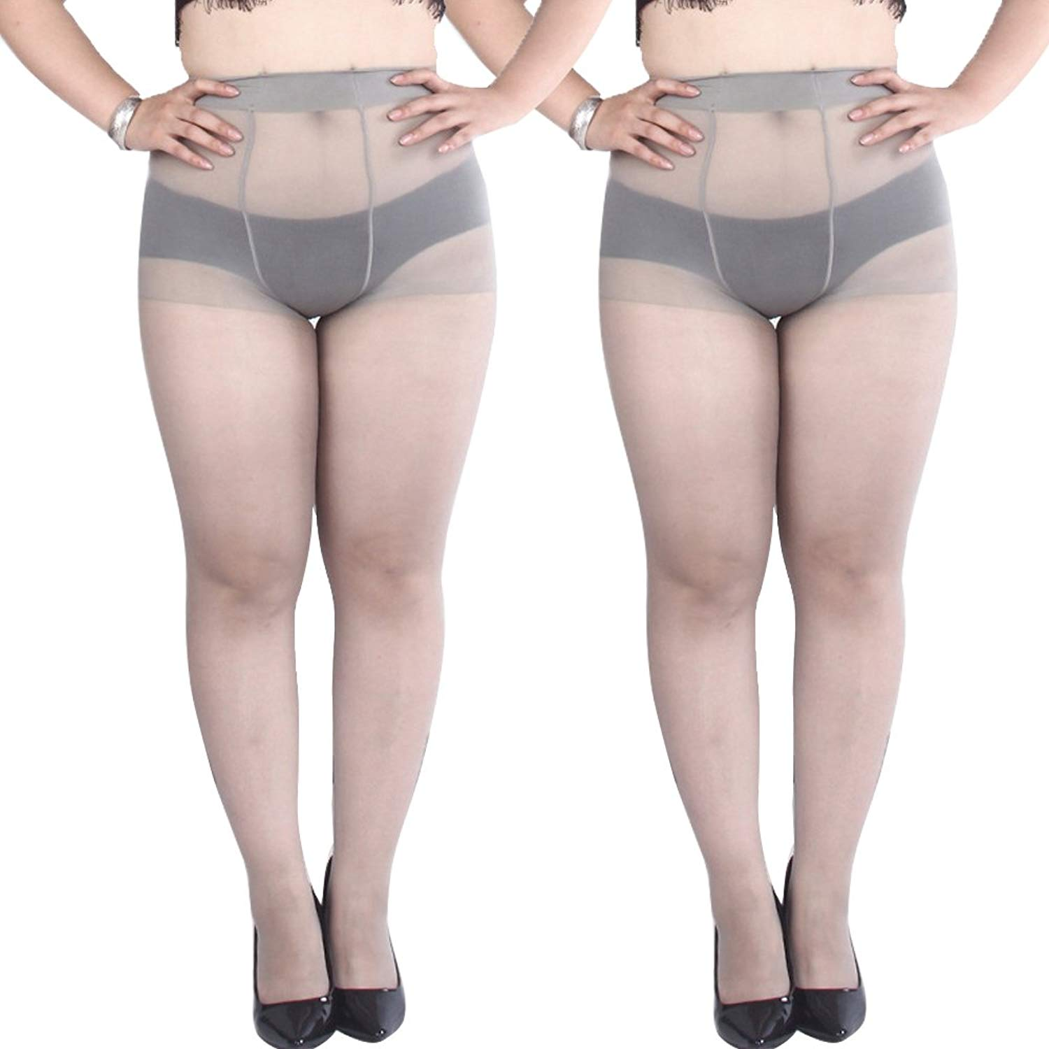 cb95a9711a Get Quotations · Plus Size Pantyhose 2-Packs Support Hose Control Top Sheer  Stockings