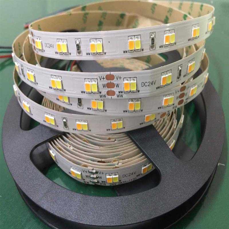 112leds warm white 3000k + white 6000k color temperature adjustable flexible led strip 2835