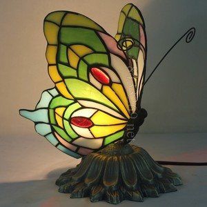 Best sales for tiffany style stained glass table lamp butterfly design night light from factory