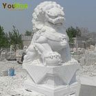 Chinese outdoor classical life size hand carved white stone animal marble foo dog lion statues