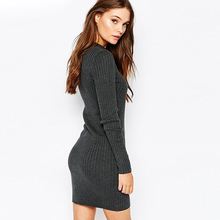 Custom Best Cashmere Knitting Long Sleeve Newest Sweater Dress