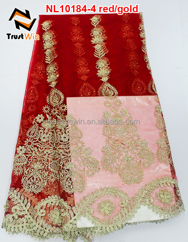 African Bridal Wedding Dress Tulle embroidery Lace Fabric red color net lace NL10184