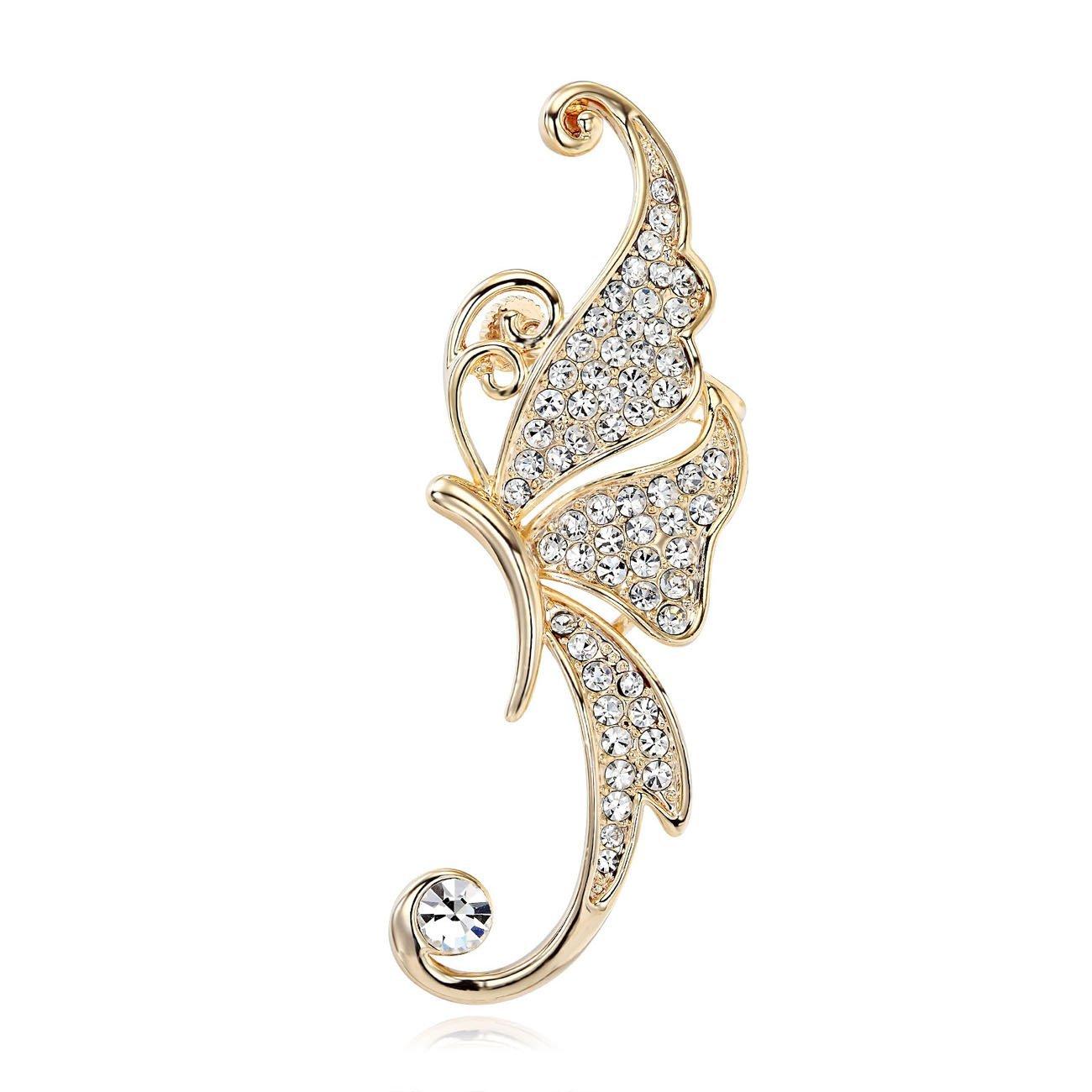 CIShop Sparkling Vivid Butterfly Diamond Earring Stud Ear Wrap Cuff Earring Gothic Earcuff Punk Rock Earring(Left Ear)-Lady's Favoriate(allergy free) (White)