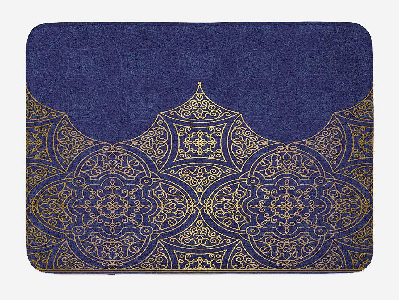 Lunarable Indigo Bath Mat, Middle Eastern Style Ornament Ottoman Moroccan Cultures Inspired Filigree Pattern, Plush Bathroom Decor Mat with Non Slip Backing, 29.5 W X 17.5 W Inches, Gold Indigo