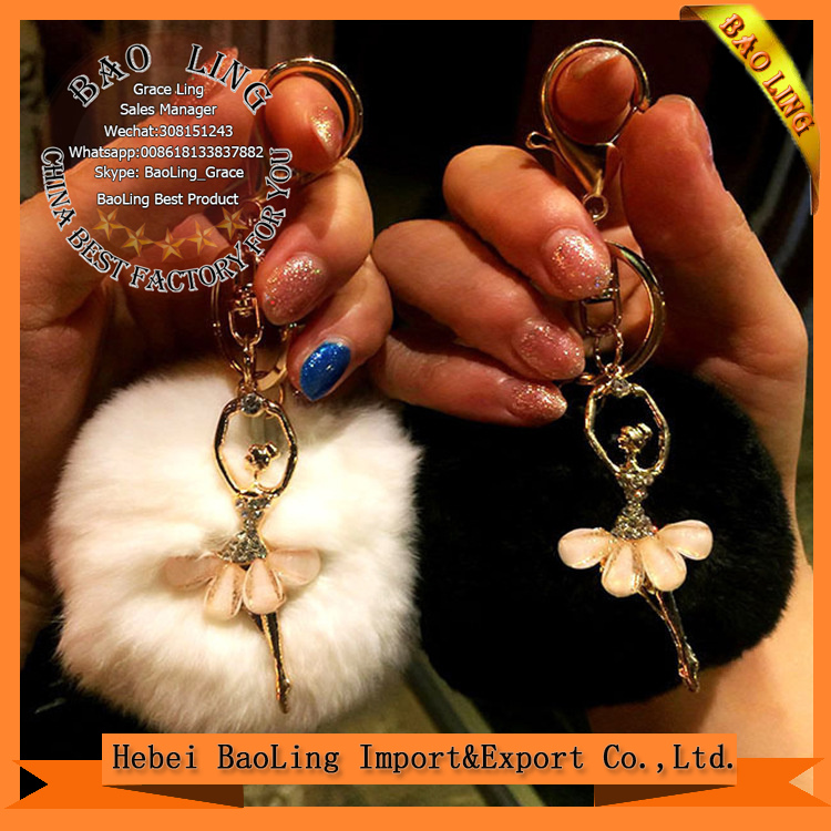 13 cm Large Puffs Ballet Girl Fur Handbag Charm Tote Accessories Plush Real Ballet Girl Fur keychains