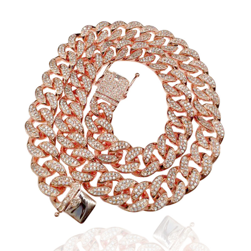 New <strong>Fashion</strong> 12mm Rose Gold Plated Micro Paved Cubic Zircon Men's Cuban Link Chain Necklace Bling Jewelry
