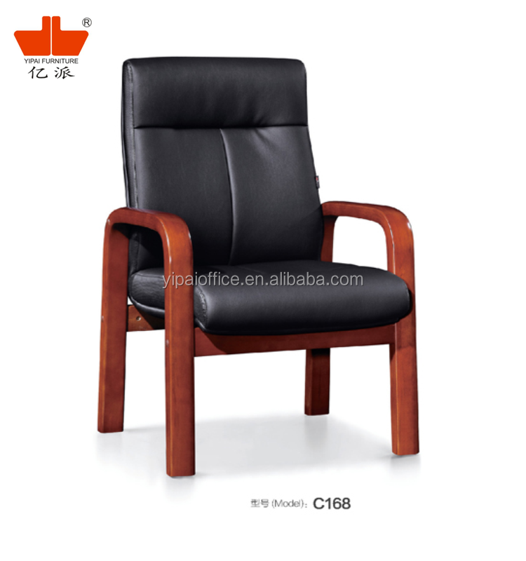 Traditional PU leather high density sponge bent wood with wood armrest simple meeting manager chair C168