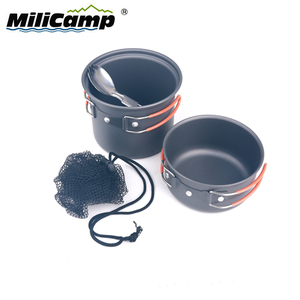 Camping Cookware Mess Kit Hiking Outdoor 1-2 Persons Travel Cooking Set Cutlery Set