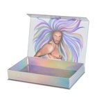 Rainbow Paper Magnetic Wig Packaging Box Luxury Hair Extension Packaging Box
