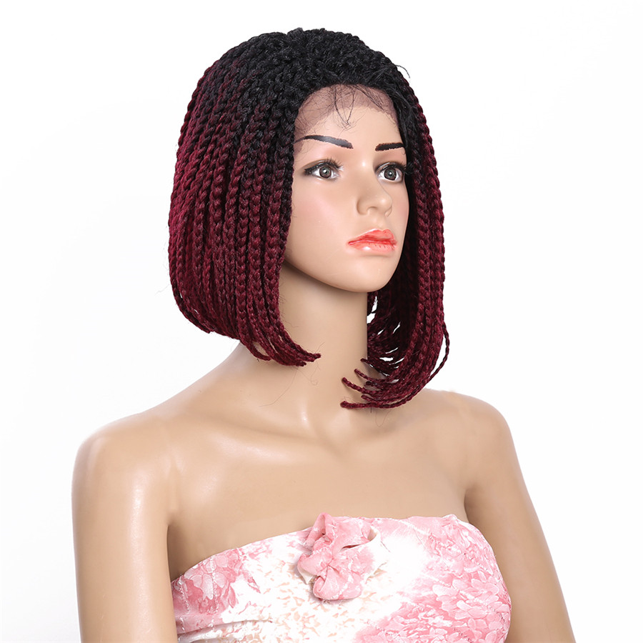 14inch Bob Braided Lace Front Wigs Box Braid Wig Synthetic Short