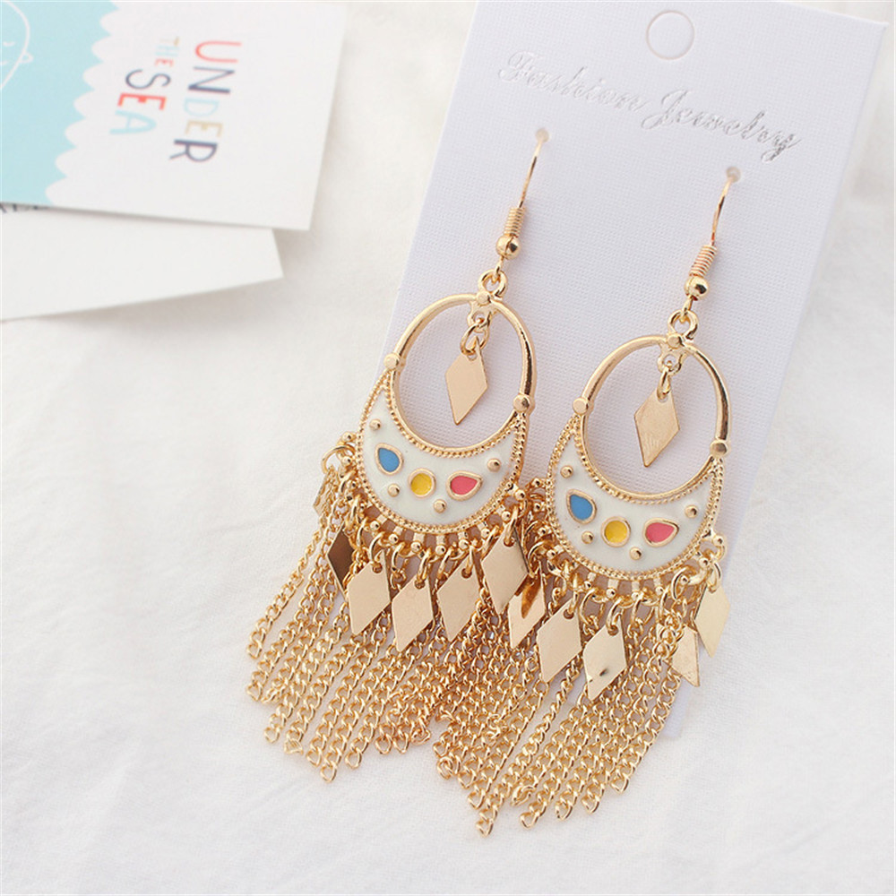 Wholesale boho style colorful gold plating tassel earrings
