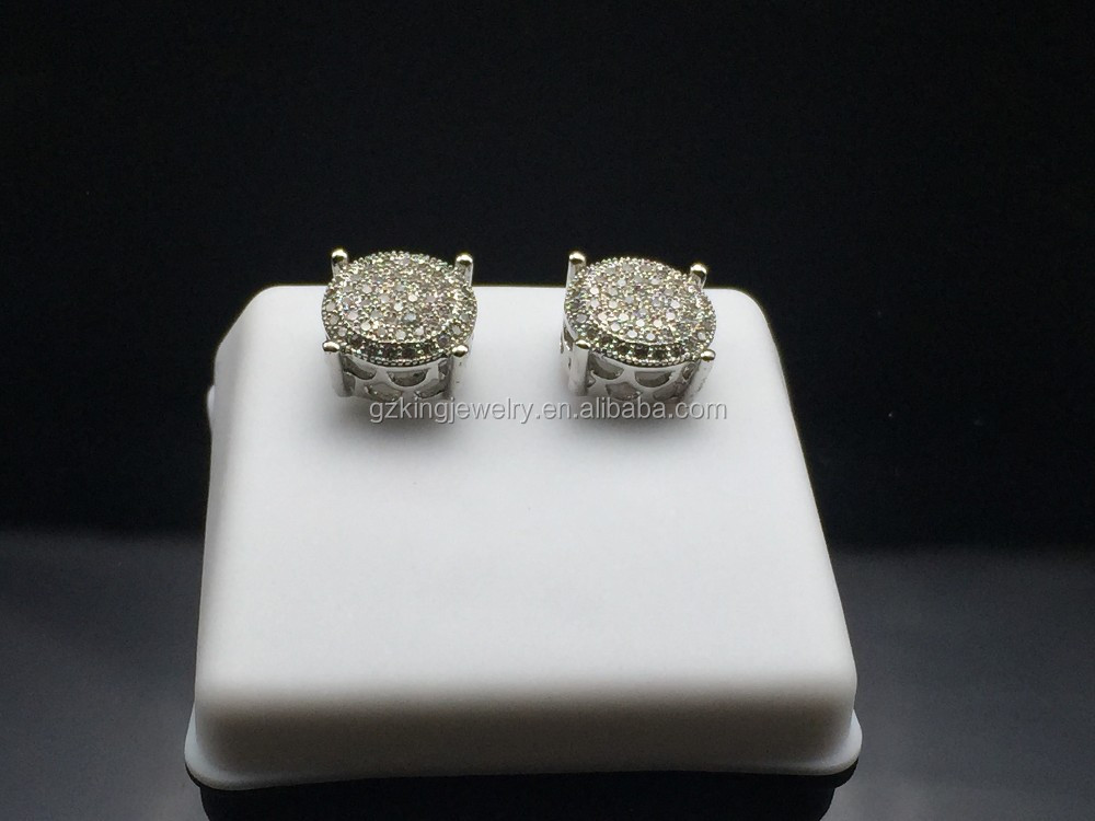 Iced out micro pave cz round shaped brass men stud earrings