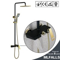 Bath surface wall mount shower faucet set painting black rain head with handshower