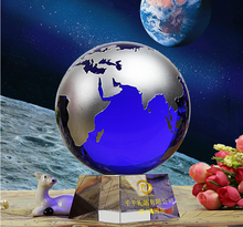 Kinsam-001 the world map ball blue crystal world global souvenir