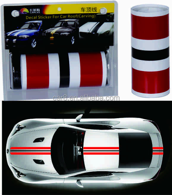 Carlas new products stripe decoration sticker racing car roof sticker