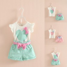 Baby Kids Girls Sleeveless Heart Bow Tops T Shirt Plaid Short Pants Outfits 2 7Y